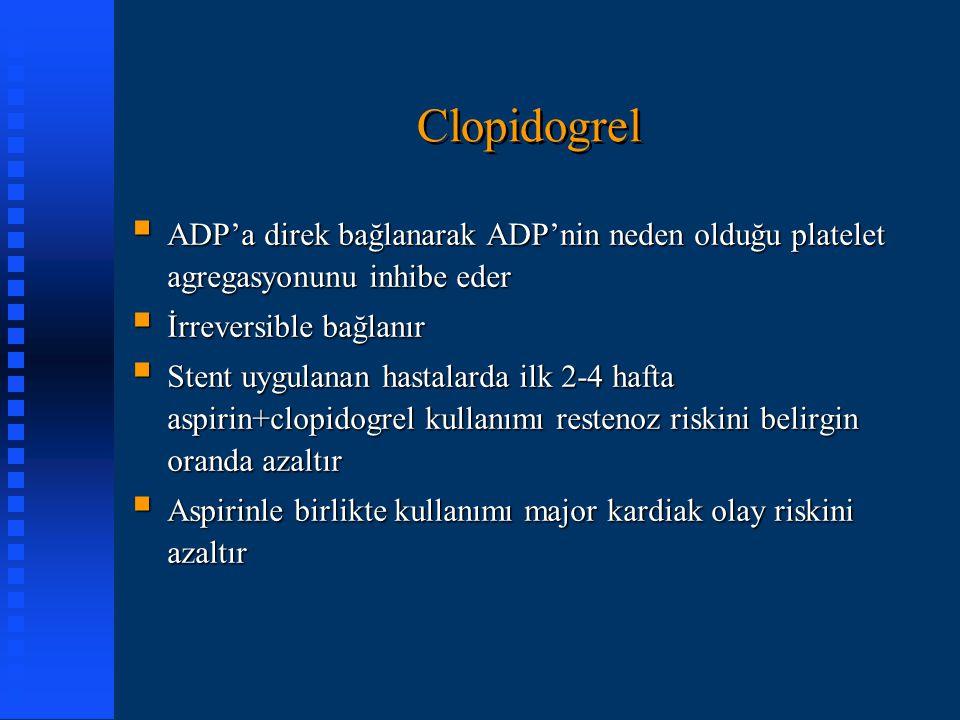 Clopidogrel ADP'a direk bağlanarak ADP'nin neden olduğu platelet agregasyonunu inhibe eder. İrreversible bağlanır.