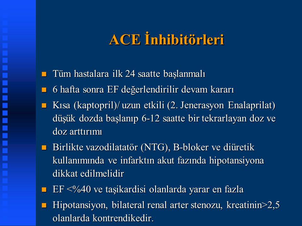 ACE İnhibitörleri Tüm hastalara ilk 24 saatte başlanmalı