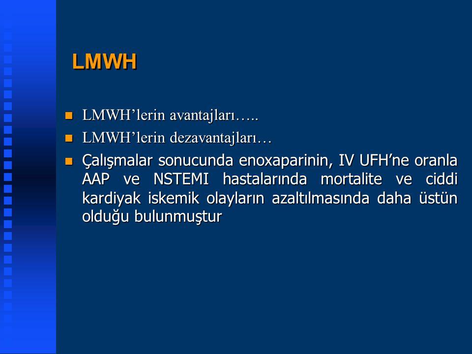 LMWH LMWH'lerin avantajları….. LMWH'lerin dezavantajları…