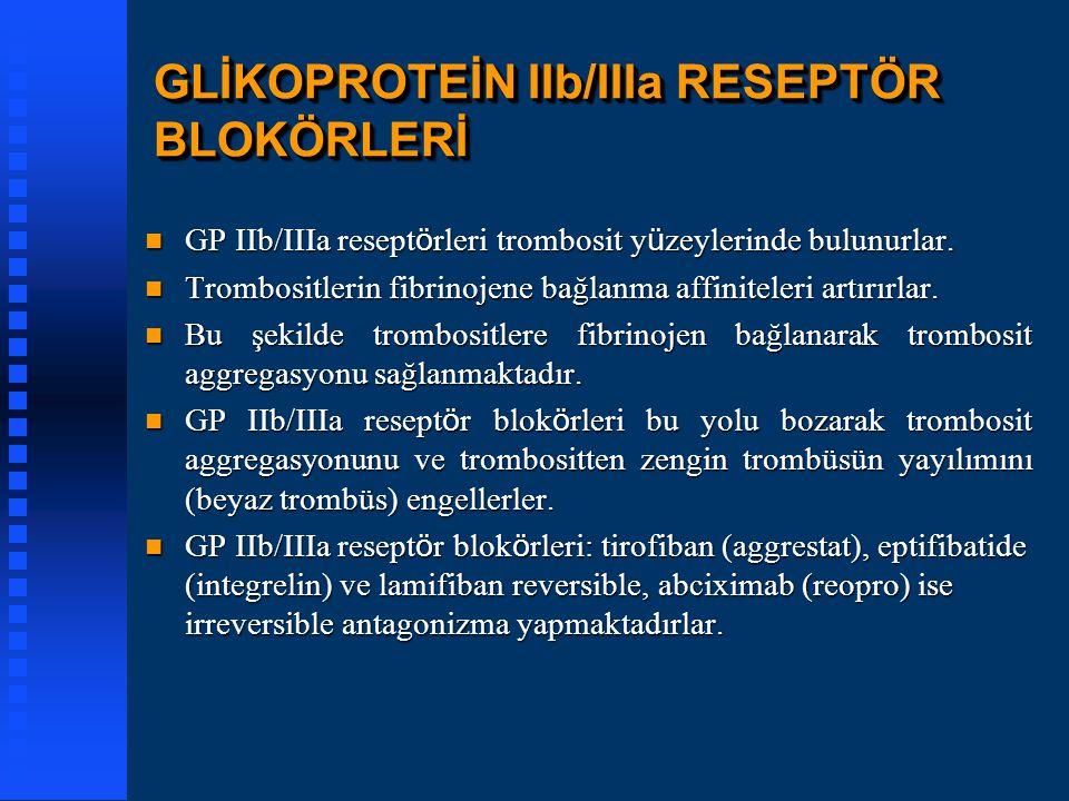 GLİKOPROTEİN IIb/IIIa RESEPTÖR BLOKÖRLERİ