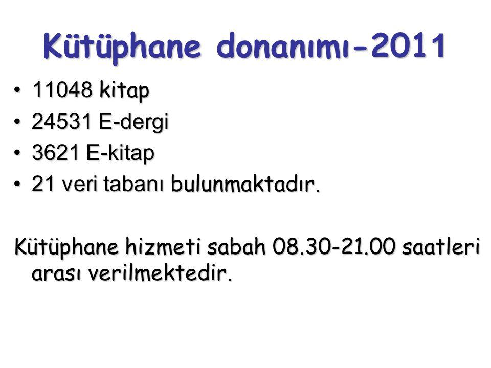 Kütüphane donanımı-2011 11048 kitap 24531 E-dergi 3621 E-kitap