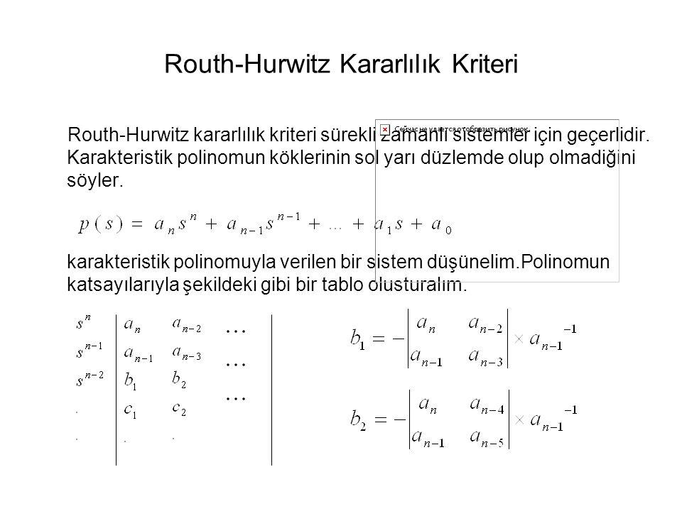 Routh-Hurwitz Kararlılık Kriteri