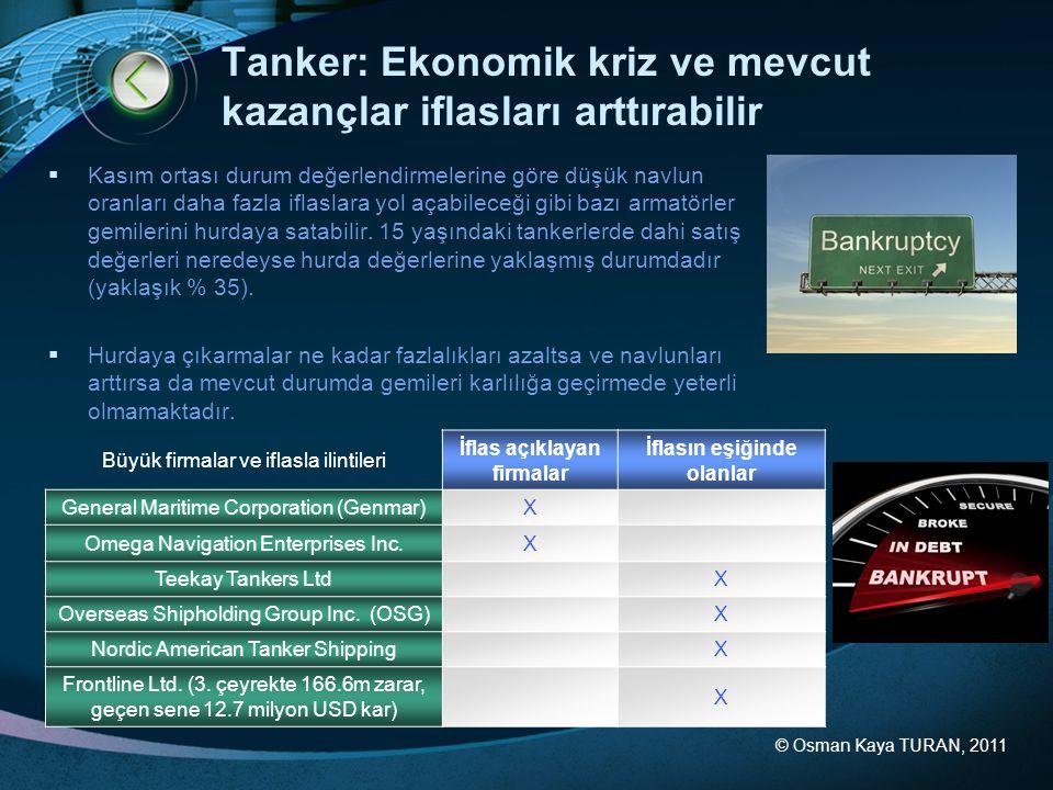 Tanker: Ekonomik kriz ve mevcut kazançlar iflasları arttırabilir