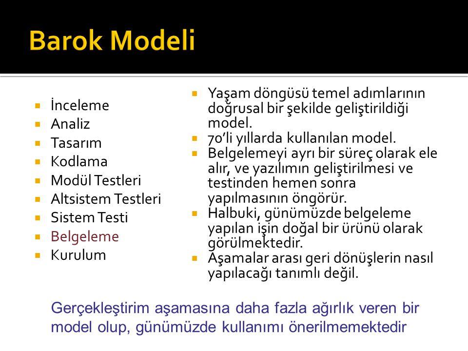 Barok Modeli Yaşam döngüsü temel adımlarının doğrusal bir şekilde geliştirildiği model. 70'li yıllarda kullanılan model.