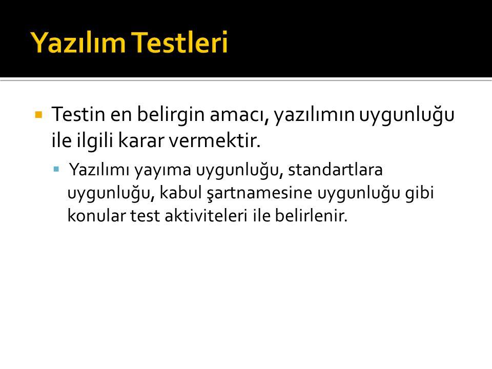 Yazılım Testleri Testin en belirgin amacı, yazılımın uygunluğu ile ilgili karar vermektir.