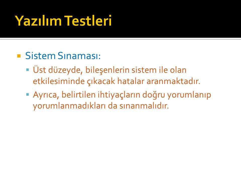Yazılım Testleri Sistem Sınaması: