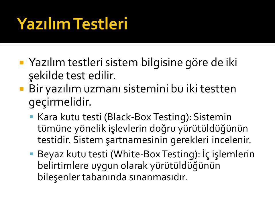 Yazılım Testleri Yazılım testleri sistem bilgisine göre de iki şekilde test edilir. Bir yazılım uzmanı sistemini bu iki testten geçirmelidir.