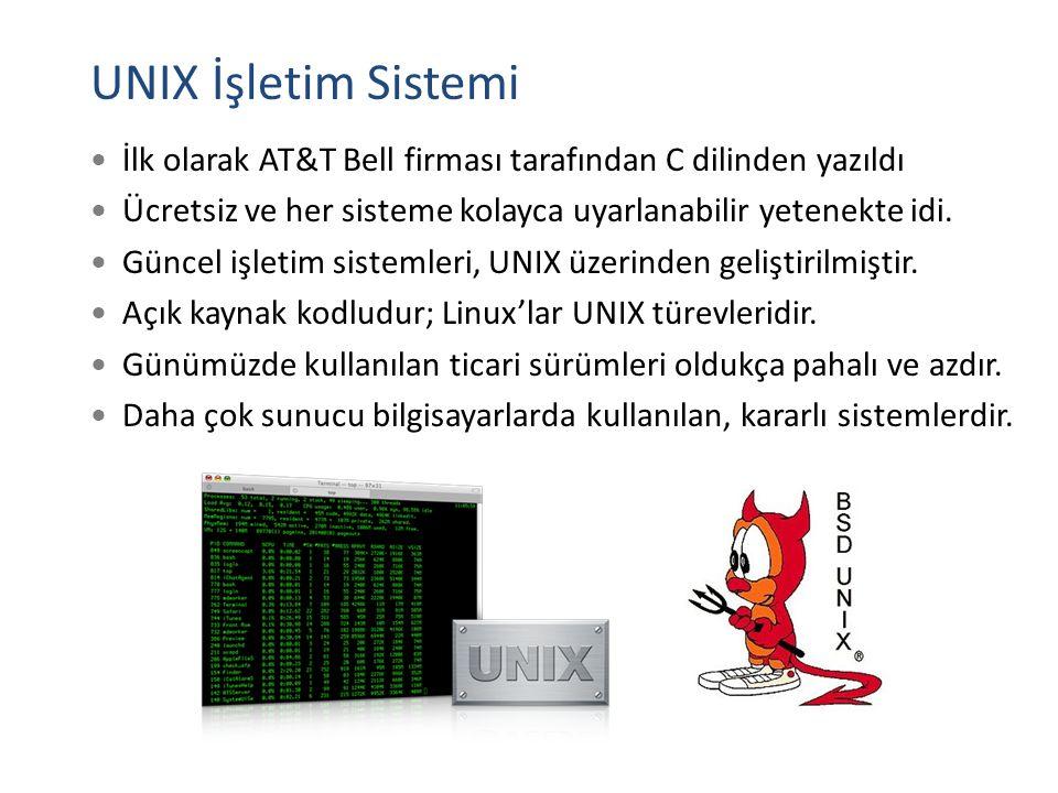 UNIX İşletim Sistemi İlk olarak AT&T Bell firması tarafından C dilinden yazıldı. Ücretsiz ve her sisteme kolayca uyarlanabilir yetenekte idi.