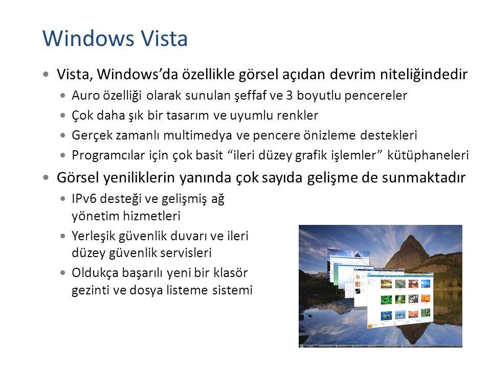 Windows Vista Vista, Windows'da özellikle görsel açıdan devrim niteliğindedir. Auro özelliği olarak sunulan şeffaf ve 3 boyutlu pencereler.
