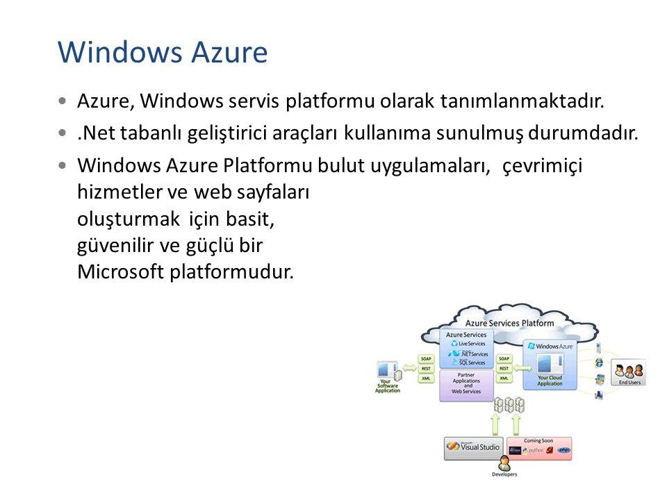 Windows Azure Azure, Windows servis platformu olarak tanımlanmaktadır.