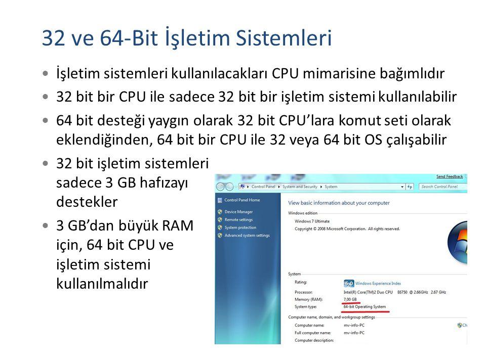 32 ve 64-Bit İşletim Sistemleri