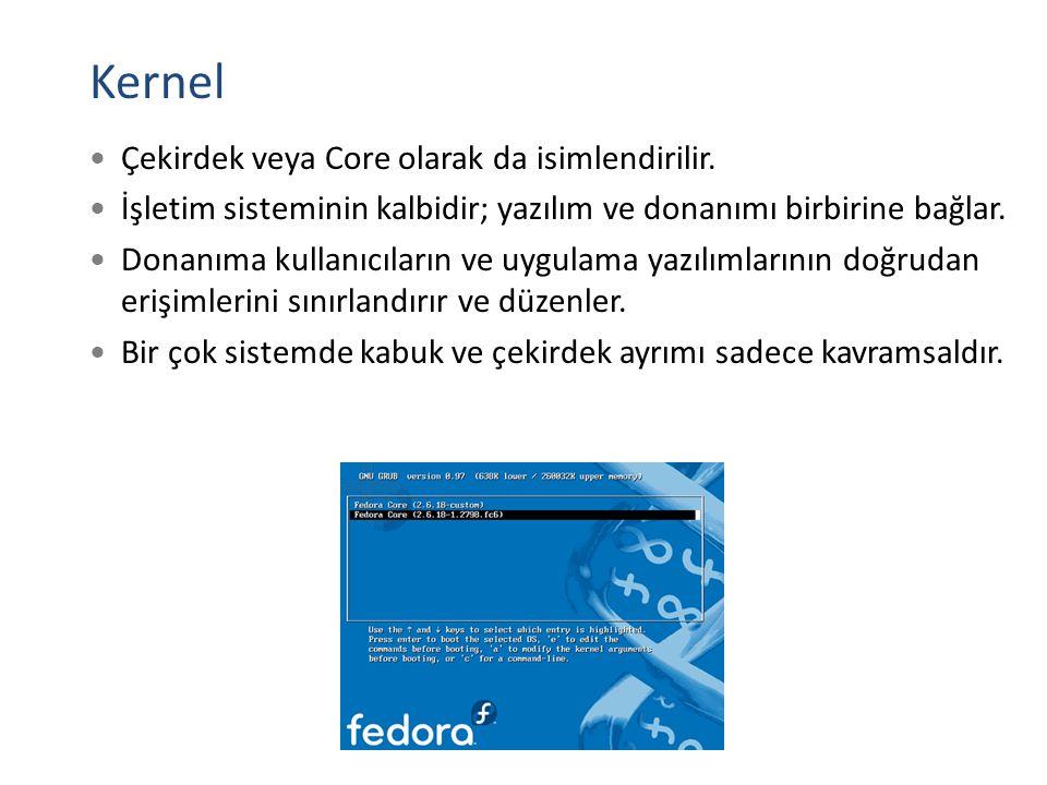 Kernel Çekirdek veya Core olarak da isimlendirilir.