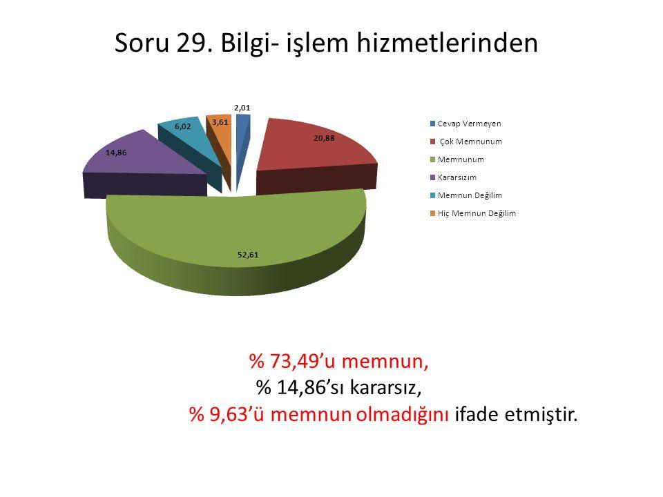 Soru 29. Bilgi- işlem hizmetlerinden