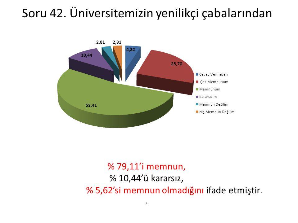Soru 42. Üniversitemizin yenilikçi çabalarından