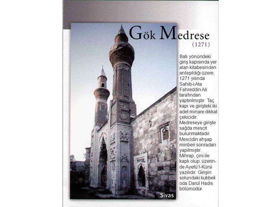 Batı yönündeki giriş kapısında yer alan kitabesinden anlaşıldığı üzere, 1271 yılında Sahib-i Ata Fahreddin Ali tarafından yaptırılmıştır. Taç kapı ve girişteki iki adet minare dikkat çekicidir. Medreseye girişte sağda mescit bulunmaktadır. Mescidin ahşap minberi sonradan yapılmıştır. Mihrap, çini ile kaplı olup, üzerin-de Ayetü'l-Kürsi yazılıdır. Girişin solundaki kubbeli oda Darül Hadis bölümüdür.