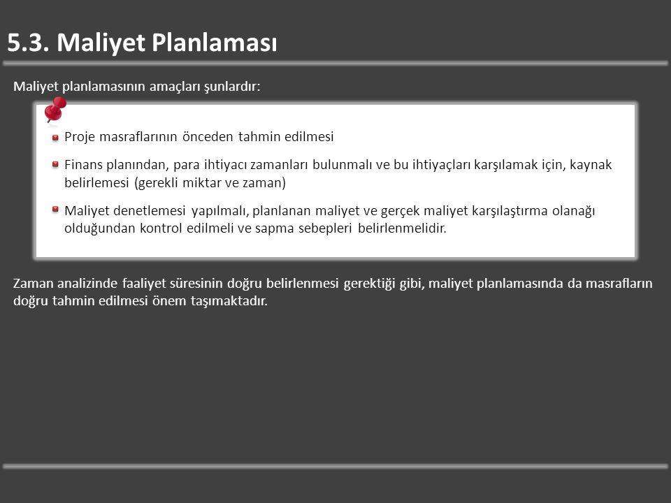 5.3. Maliyet Planlaması Maliyet planlamasının amaçları şunlardır: