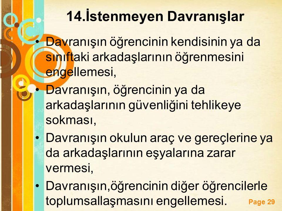 14.İstenmeyen Davranışlar