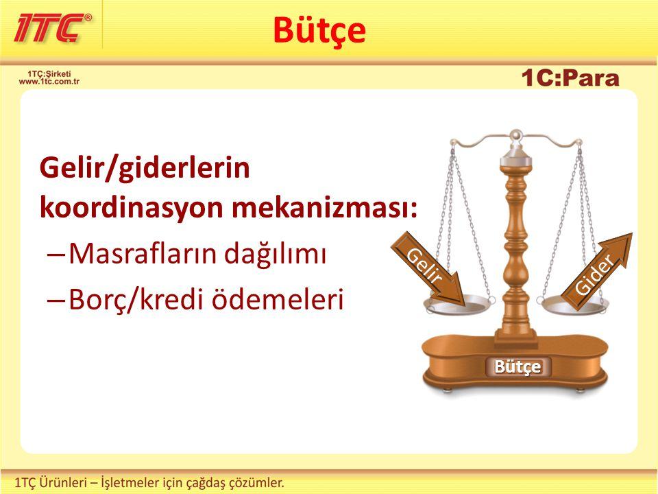 Bütçe Gelir/giderlerin koordinasyon mekanizması: Masrafların dağılımı