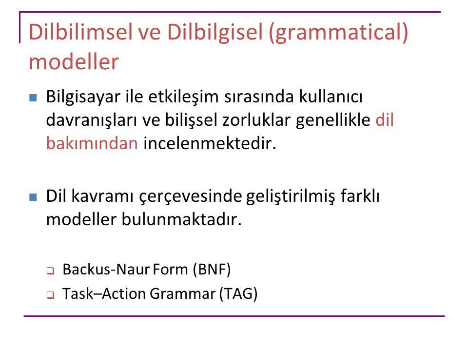 Dilbilimsel ve Dilbilgisel (grammatical) modeller
