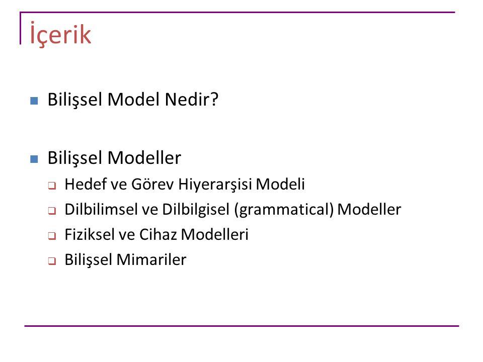 İçerik Bilişsel Model Nedir Bilişsel Modeller