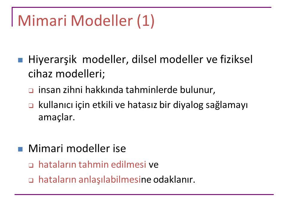 Mimari Modeller (1) Hiyerarşik modeller, dilsel modeller ve fiziksel cihaz modelleri; insan zihni hakkında tahminlerde bulunur,