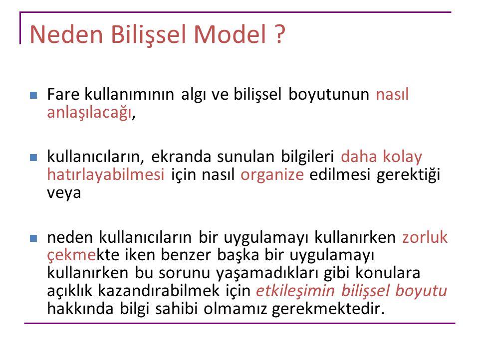 Neden Bilişsel Model Fare kullanımının algı ve bilişsel boyutunun nasıl anlaşılacağı,