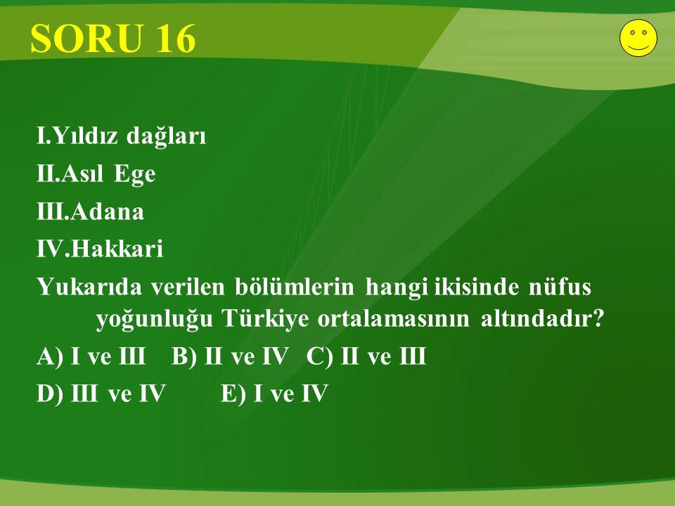 SORU 16 I.Yıldız dağları II.Asıl Ege III.Adana IV.Hakkari