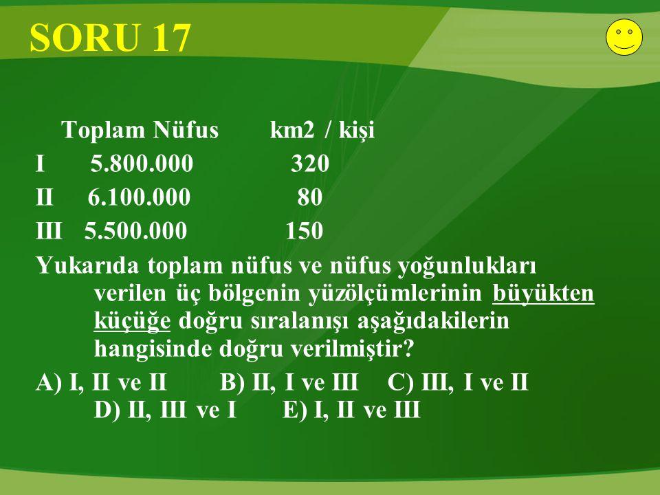SORU 17 Toplam Nüfus km2 / kişi I 5.800.000 320 II 6.100.000 80