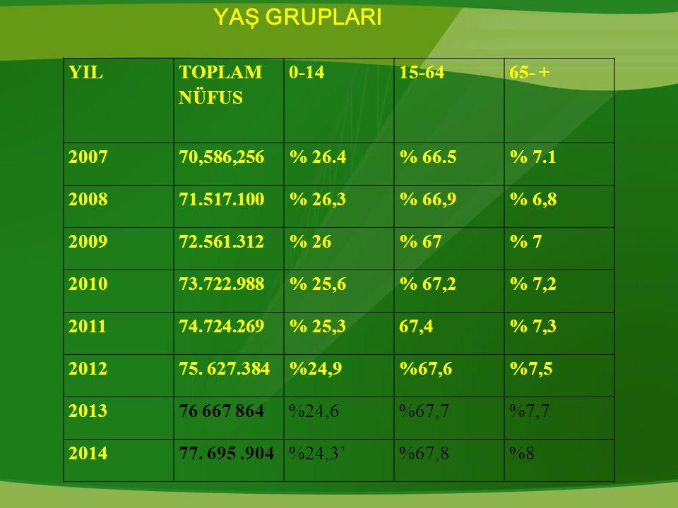YAŞ GRUPLARI YIL TOPLAM NÜFUS 0-14 15-64 65- + 2007 70,586,256 % 26.4