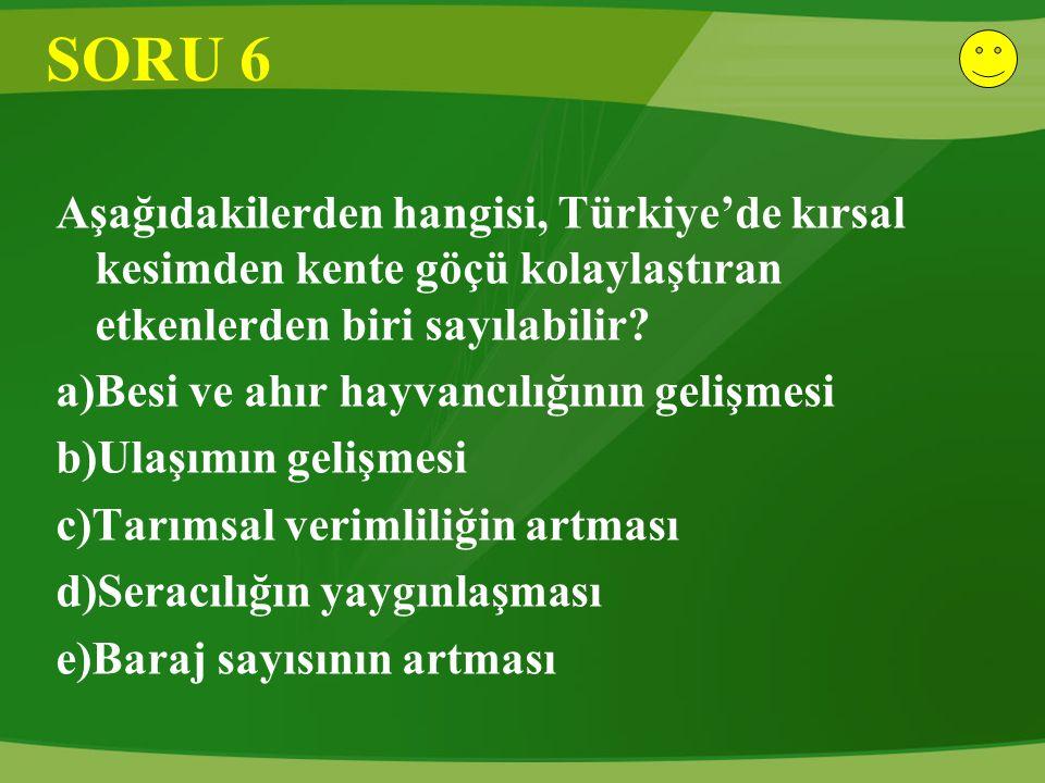 SORU 6 Aşağıdakilerden hangisi, Türkiye'de kırsal kesimden kente göçü kolaylaştıran etkenlerden biri sayılabilir
