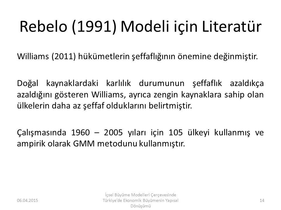 Rebelo (1991) Modeli için Literatür