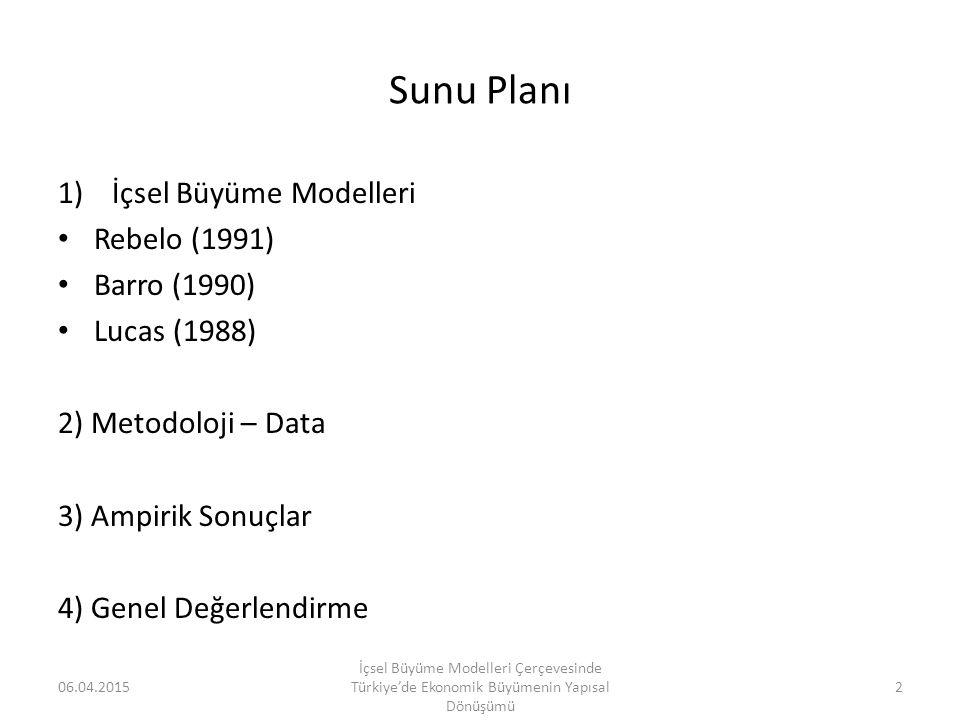 Sunu Planı İçsel Büyüme Modelleri Rebelo (1991) Barro (1990)