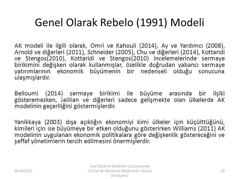 Genel Olarak Rebelo (1991) Modeli