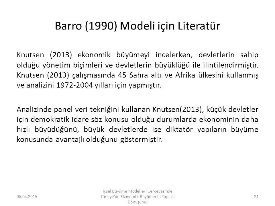 Barro (1990) Modeli için Literatür