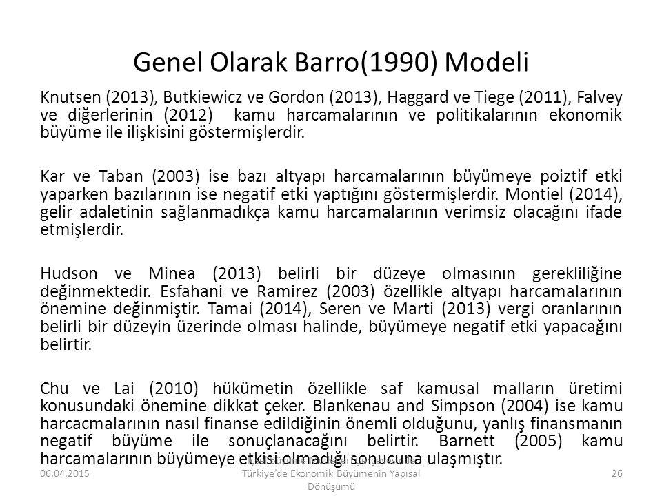 Genel Olarak Barro(1990) Modeli