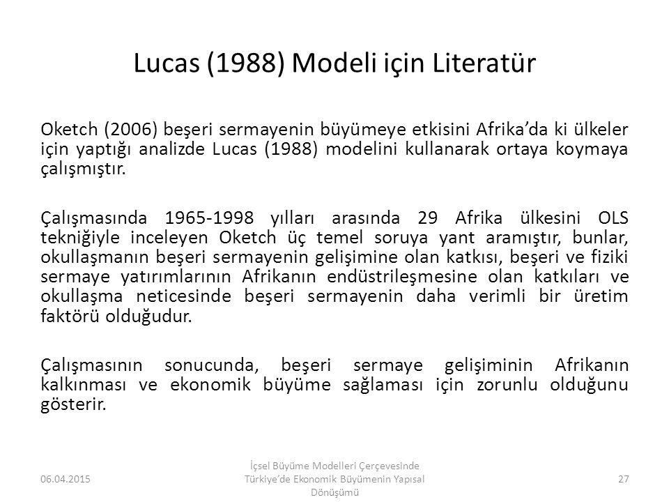 Lucas (1988) Modeli için Literatür