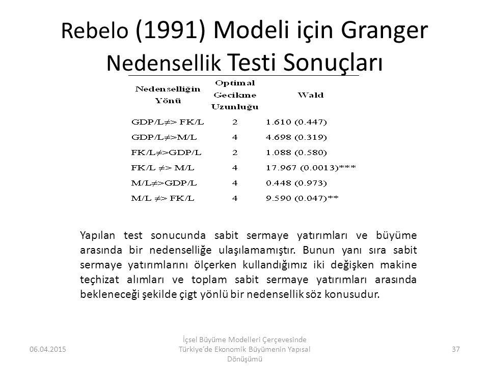 Rebelo (1991) Modeli için Granger Nedensellik Testi Sonuçları