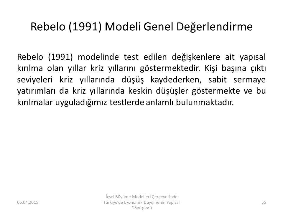 Rebelo (1991) Modeli Genel Değerlendirme
