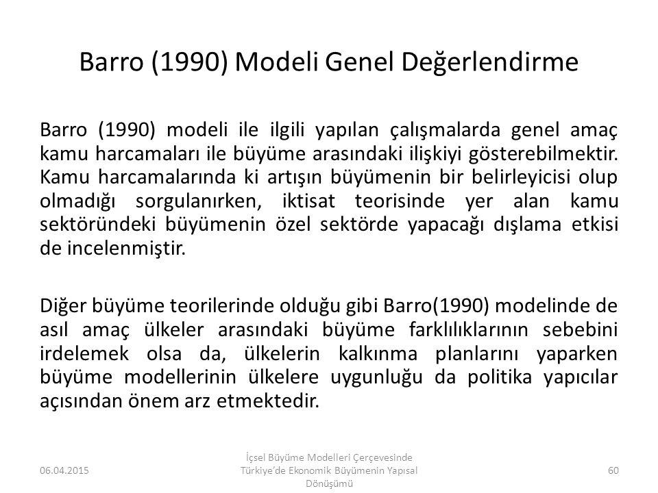 Barro (1990) Modeli Genel Değerlendirme