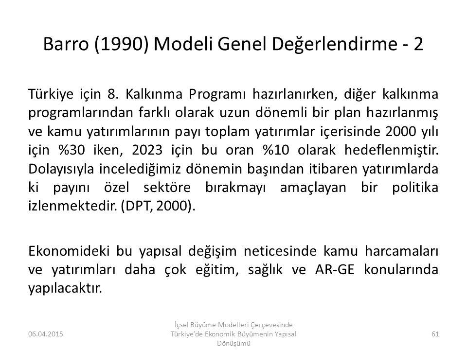 Barro (1990) Modeli Genel Değerlendirme - 2