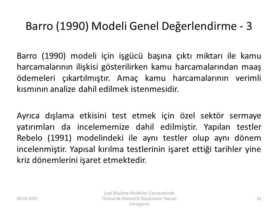 Barro (1990) Modeli Genel Değerlendirme - 3
