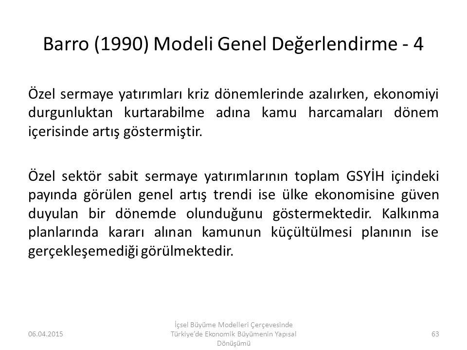 Barro (1990) Modeli Genel Değerlendirme - 4