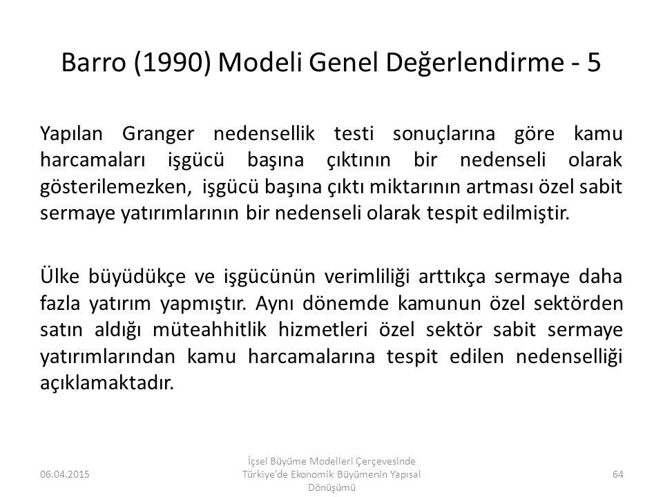 Barro (1990) Modeli Genel Değerlendirme - 5