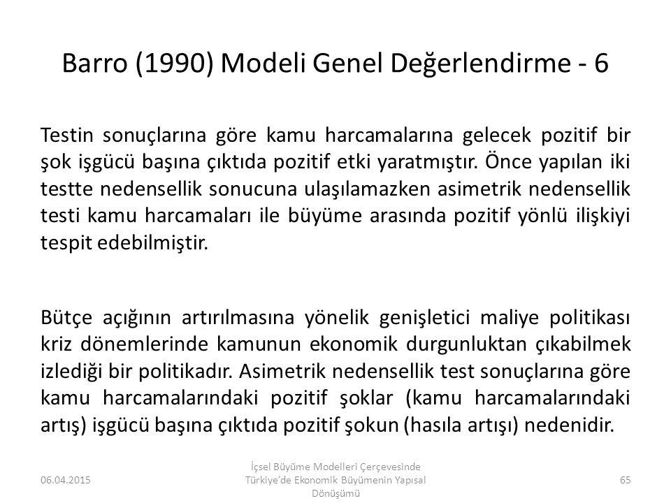 Barro (1990) Modeli Genel Değerlendirme - 6