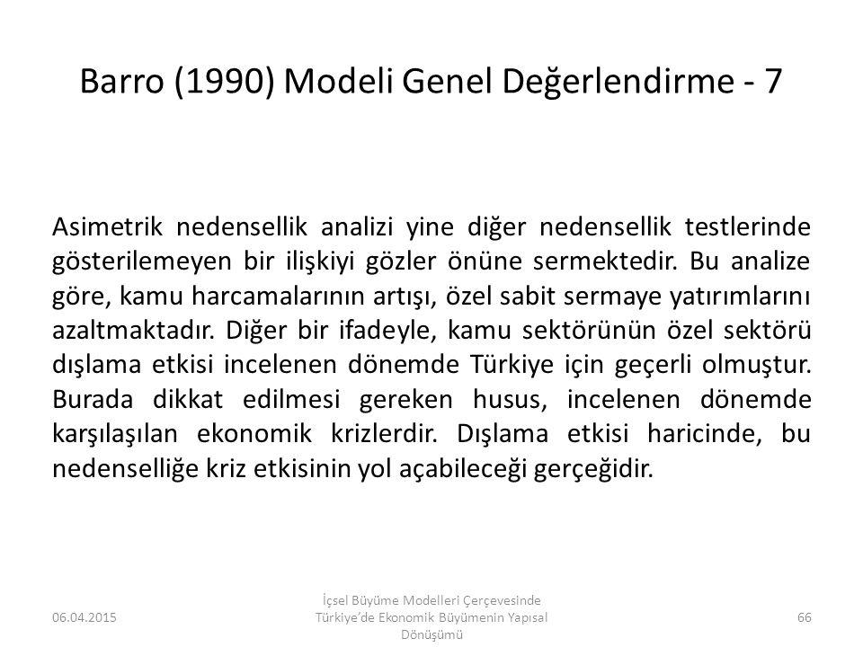 Barro (1990) Modeli Genel Değerlendirme - 7