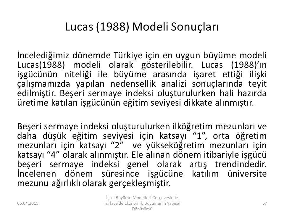 Lucas (1988) Modeli Sonuçları
