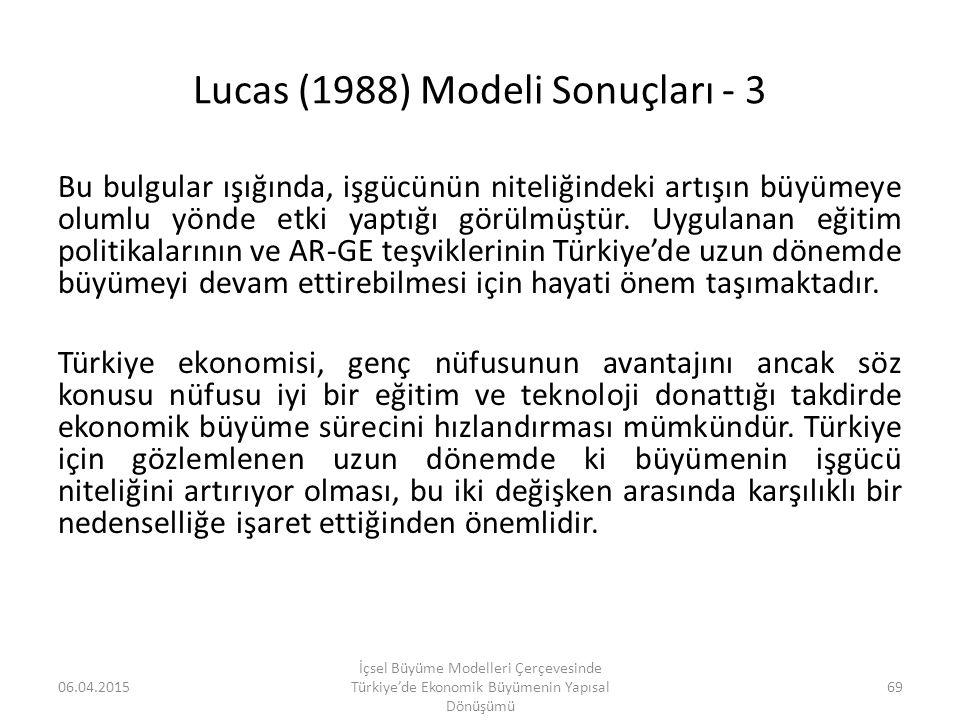Lucas (1988) Modeli Sonuçları - 3
