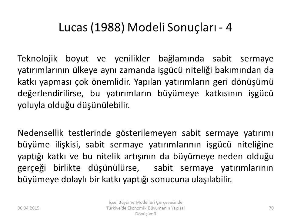 Lucas (1988) Modeli Sonuçları - 4