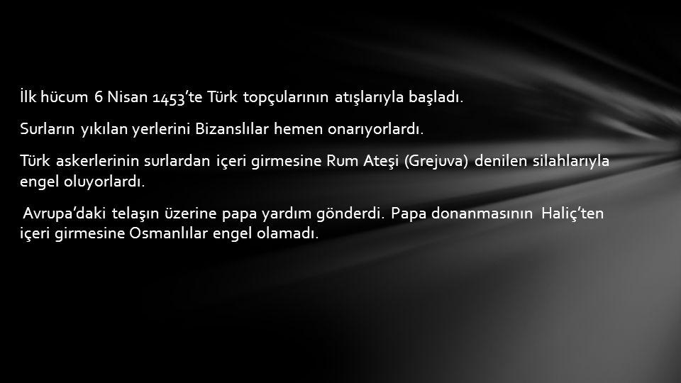 İlk hücum 6 Nisan 1453'te Türk topçularının atışlarıyla başladı.