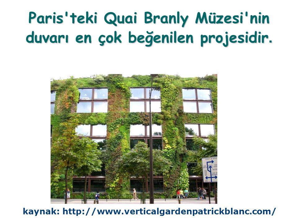 Paris teki Quai Branly Müzesi nin duvarı en çok beğenilen projesidir.